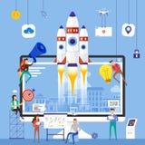 Flat design concept team working for building startup company wi. Th rocket on desktop. Vector illustrate stock illustration
