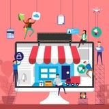 Flat design concept team working for online store e-commerce technology on desktop. Vector illustrate. royalty free illustration