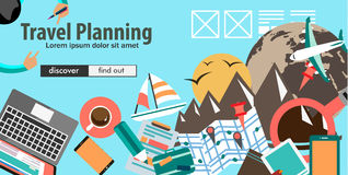 Flat Design Concept For Travel Organization and Trip Planning Stock Photography