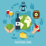 Flat Wine Concept. Flat design concept with various wine icons bottle cheese cask corkscrew on blue background vector illustration vector illustration