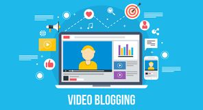 Video blogging - flat design concept. Royalty Free Stock Image