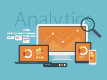 Flat design concept of website analytics Royalty Free Stock Images