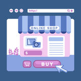 Flat design conceptof online shop Royalty Free Stock Photography