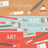 Flat design concepts for art courses Stock Images