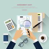 Flat design concepts for auditing . Auditor examination of financial report. Tax process. Research, project management, planning, accounting, analysis, data Royalty Free Stock Image