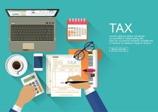 Flat design concepts for auditing . Auditor examination of financial report. Tax process. Research, project management, planning, accounting, analysis, data Stock Images