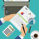 Flat design concepts for auditing . Auditor examination of financial report. Tax process. Research, project management, planning, accounting, analysis, data Royalty Free Stock Photography