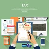 Flat design concepts for auditing . Auditor examination of financial report. Tax process. Research, project management, planning, accounting, analysis, data Royalty Free Stock Images