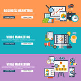 Flat design concepts for business marketing, viral video production, digital marketing campaign, internet. Medium mass communication, media sharing. Concepts Stock Images