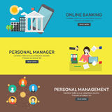 Flat design concepts for business. Flat design concepts for business, online banking, personal manager and management. Concepts for web banners and promotional Royalty Free Stock Images