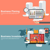 Flat design concepts for business planning and global investment Royalty Free Stock Photos