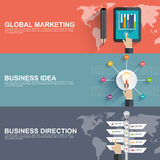 Flat design concepts for business strategy and creative process Royalty Free Stock Images