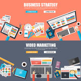 Flat design concepts for business strategy and video marketing Stock Image