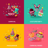 Flat design concepts of carnival. Flat design vector illustration concepts of carnival, photo booth party, funfair or masquerade ball. Square banners with mask Royalty Free Stock Images