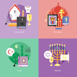 Flat design concepts for catholiism, orthodoxy, islam, judaism. Royalty Free Stock Photo