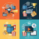 Flat design concepts for cinema, movie production. Premier, online video. Concepts for web banners and promotional materials Royalty Free Stock Images