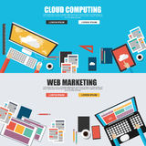 Flat design concepts for cloud computing and web marketing Stock Photos