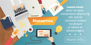 Flat design concepts for Content Marketing, Finding Target of Market, Mobile Banking.  Stock Photo