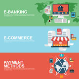 Flat design concepts for e-commerce, e-banking Royalty Free Stock Photo