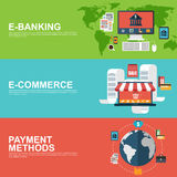 Flat design concepts for e-commerce, e-banking and payment methods Stock Image