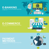 Flat design concepts for e-commerce, e-banking and payment methods Royalty Free Stock Photos