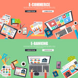 Flat design concepts for e-commerce and e-banking Royalty Free Stock Photos