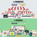 Flat design concepts for e-commerce, e-shopping and e-banking Royalty Free Stock Image