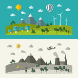 Flat design concepts for ecology. Royalty Free Stock Photo
