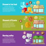 Flat design concepts for fast food.  Concepts for web banners and promotional materials Stock Image