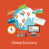Flat design concepts for global economy, world economy, marketing analytic, business bcakground vector illustration