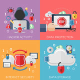 Flat design concepts for hacker activity, data stock images