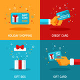 Flat Design Concepts about Holiday Gift Cards Stock Images