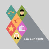 Flat design concepts for law and order, house of justice,  crime and punishment Stock Photography