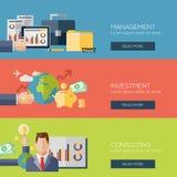 Flat design concepts for management, investment royalty free illustration