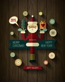 Flat design concepts for Merry Christmas and Happy. New Year cards. Xmas icons. Flat Santa Claus, Snowflakes and 2015 icons with long shadow on wood texture stock illustration