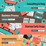 Flat design concepts for mobile marketing and money investments Stock Image