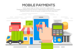Flat design concepts for Mobile Payment. Royalty Free Stock Image