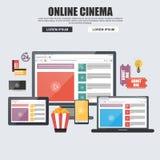 Flat design concepts for online cinema, internet streaming Stock Image