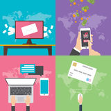 Flat design concepts for online communication Royalty Free Stock Images