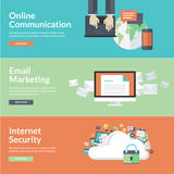 Flat design concepts for online communications Stock Photography