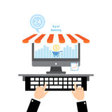 Flat design concepts online shopping and digital marketing . Stock Image