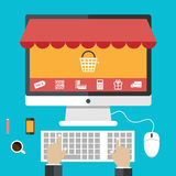 Flat design concepts online shopping and e-commerce Royalty Free Stock Image