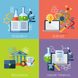 Flat design concepts for research, science. Education, online training. Concepts for web banners and promotional materials Royalty Free Stock Image