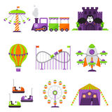 Flat design conceptual city elements with carousels amusement park vector illustration. Slides and swings amusement park, ferris wheel attraction park. Carnival Stock Photography