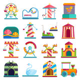 Flat design conceptual city elements with carousels amusement park vector illustration. Slides and swings amusement park, ferris wheel attraction park. Carnival Royalty Free Stock Photography