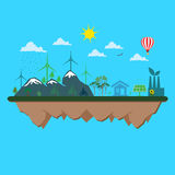 Flat, design, conceptual, ecological, illustration Royalty Free Stock Images