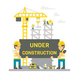 Flat design construction site sign. Illustration Royalty Free Stock Image