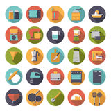 Flat Design Cooking Appliances Vector Icons Collection. Set of 25 kitchen and cooking related icons in circles, flat design Stock Images