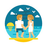 Flat design couple beach walking Stock Image