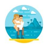 Flat design couple piggyback  beach Royalty Free Stock Photo